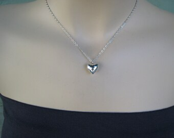 Silver Heart Necklace, Hammered Heart, Puffy Heart, Sterling Silver, Gift for Her, Irisjewelrydesign