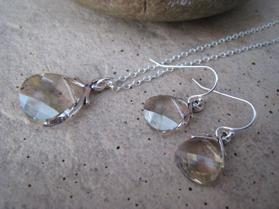 RESERVED FOR JESSICA - 4 Silver Shade Crystal Necklace and Earrings Sets and One Additional Necklace