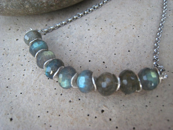 Labradorite Rondelle and Wavy Sterling Silver Discs Necklace