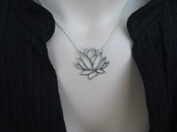 Lotus Necklace - Sterling Silver, Silver Lotus, Flower Necklace, Irisjewelrydesign, Fashion