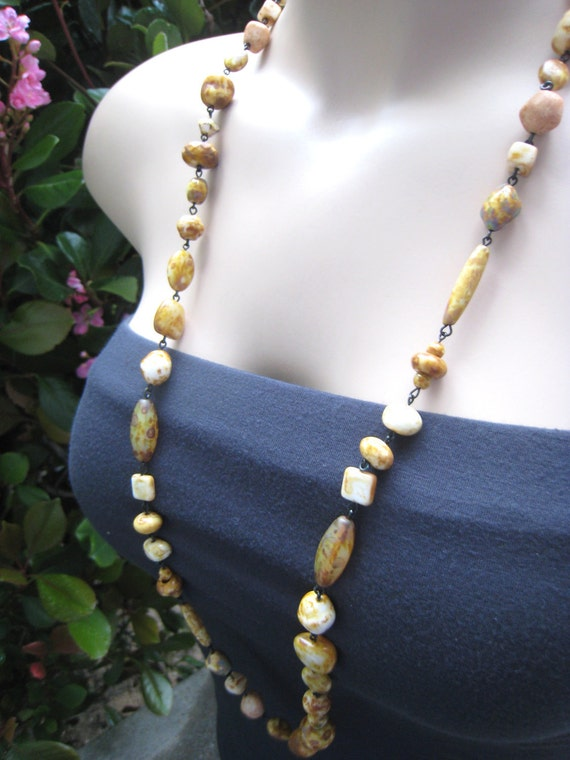 Bohemian Beaded Long Necklace, Mustard Yellow, Czech Beads, Wire Wrapped - Tan, Yellow, Cream Colors, Fall Fashion