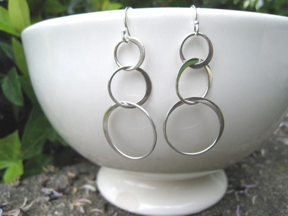 Silver Triple Hoop Earrings, Fall Fashion