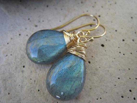 Large Labradorite Earrings in Gold, Blue Green Flash, Wire Wrapped, Dangle, Faceted, Aqua, Blue Earrings, Irisjewelrydesign