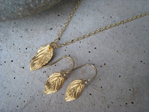 Gold Leaf Necklace, Gold Leaf Earrings, Gold Necklace Set, Gold Leaf Jewelry, Irisjewelrydesign