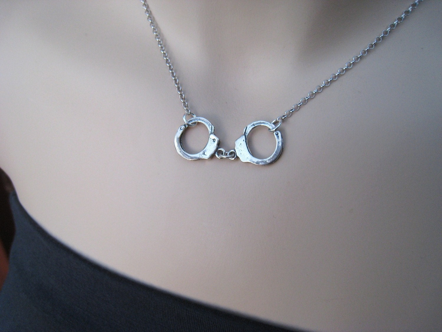 Handcuff Necklace Sterling Silver Larger Version Fall