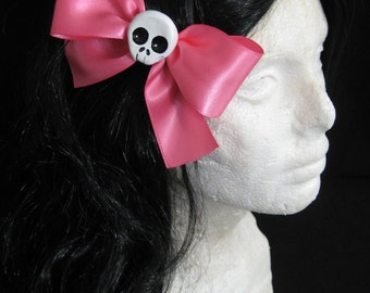 Large Hot Pink Skull Hairbow