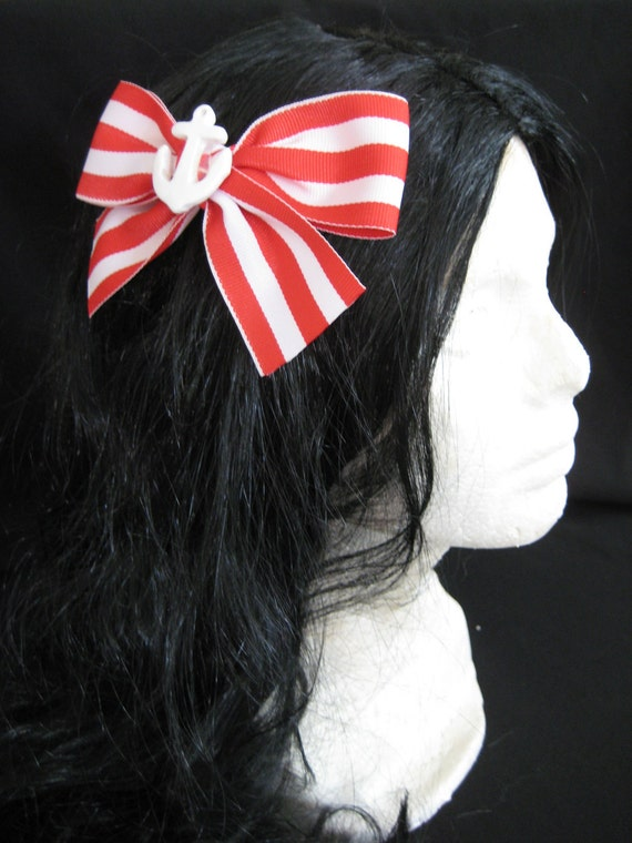Large Red/White Anchor Hairbow