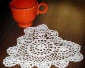 Small Crocheted Heart Shaped Doily