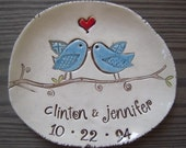 Personalized wedding, wedding gift, anniversary gift, engagement gift, bridal shower gift, gift for couples, lovebirds plate, unique gift