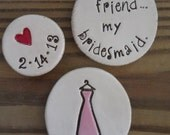 Bridal Party Wedding Favors for 4- Personalized Magnet Sets