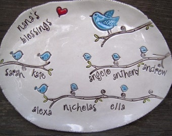 Bluebird Blessings pottery Dish - personalized with up to 12 birdies