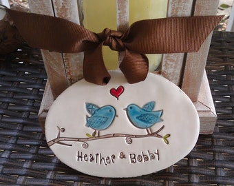 engagement gift ornament, lovebirds, personalized wedding gift, engagement gift bridal shower gift anniversary keepsake