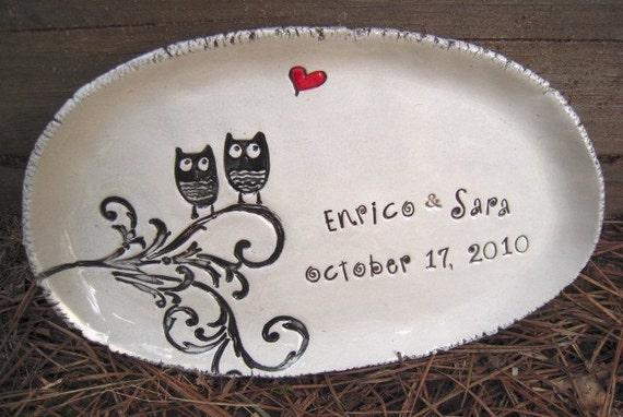 Ceramic wedding dish owl personalized wedding dish ring dish Wedding gift engagement gift bridal shower gift anniversary gift ring bearer