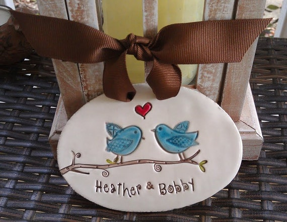 engagement gift ornament, lovebirds, personalized wedding gift, engagement gift bridal shower gift anniversary keepsake