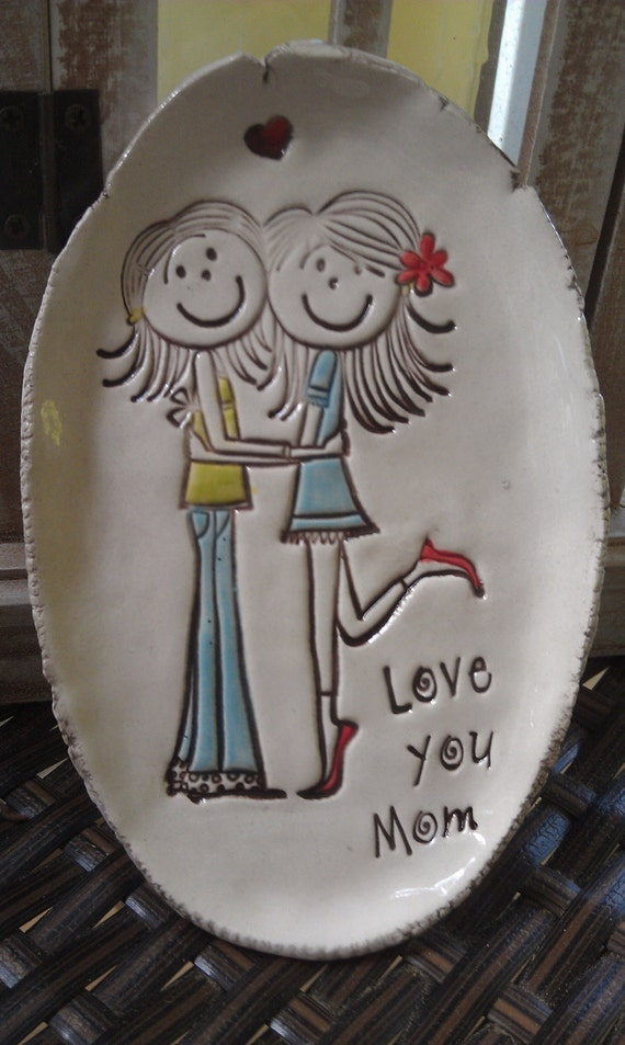 SUMMER SALE - love you mom- oval dish