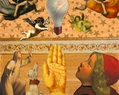 Medieval Altered Art, Collage, Wood Panel, Angels, Renaissance imagery, Light Bulb, I saw the light, Palm Hand