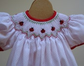 Hand Smocked Bishop Dress with  Ladybugs  polka dots New Born -3,  6 and 9 month custom sizes