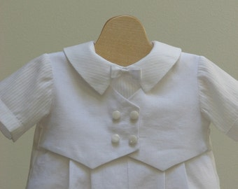 Baby Boy's Christening Vest Romper Outfit New Born to 18 month sizes
