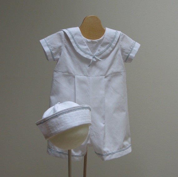 Boy Christening Outfit  Sailor Suite and Hat  - NB - 3,  6,  9, or 12  month