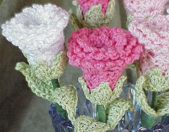PATTERN Rose Flower - Lovely Crochet Stem Instructions - Yarn Floral Bloom