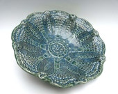 Lace Doily Bowl  Beautiful Handcrafted Stoneware Dish Unique  Antique Pineapple Lace Tatting Design Rich Teal Green Blue Color