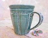 Coffee Cup Mug Ceramic Stamped  Pottery Green Tea