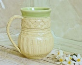 Handmade Coffee Cup Yellow Stoneware Pottery French Country  One-of-a-Kind Shabby Chic Mothers Day