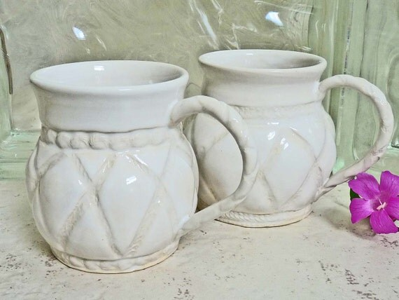 Two Coffee Mugs Shabby Chic White Quilted Design Stoneware Cups Pottery Cottage Style Feminine Ceramic Coffee Tea Cups