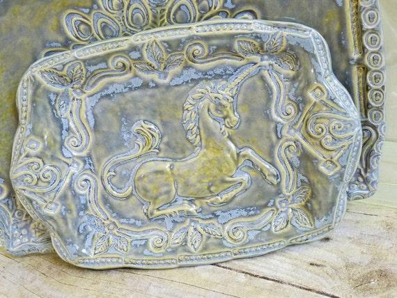 Tray Unicorn Hand-Built Ceramic Dish Fantasy Mystical Stoneware Pottery Fern Fronds Leaves