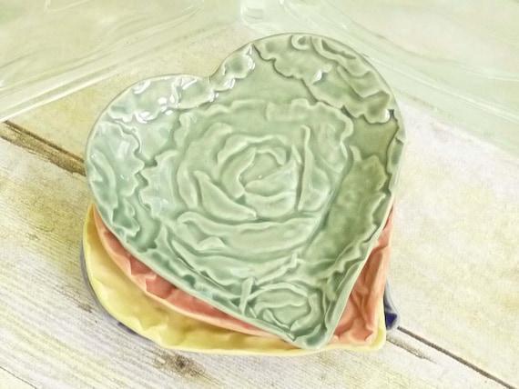 Reserved for Debbie***Green Cabbage Rose Heart Trinket Dish Ring Holder Valentine Love