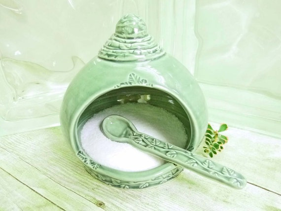 French Salt Pig Handcrafted Spoon Sage Green Salt Cellar Ceramic Stoneware Pottery For Gourmet Cook Or Kitchen