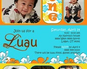 Custom Photo Card, Baby boy first birthday invitation, Bright and Colorful LUAU