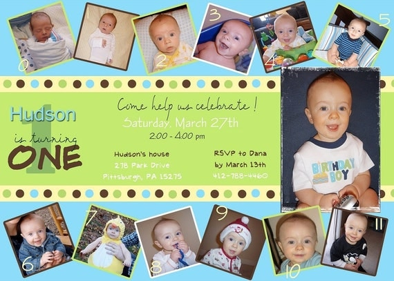 Custom Photo Card Collage Baby Boy First Birthday Invitation - Birthday invitations for baby boy 1st