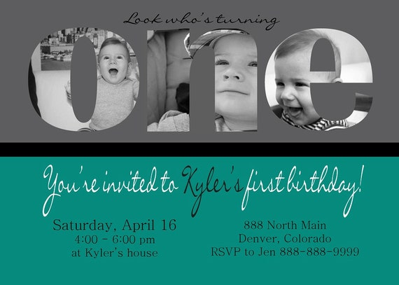 Custom Photo Card collage, Baby boy first birthday invitation, Photos on ONE