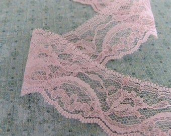 1 Yard of Pink Floral Lace 1.75 Inches Wide - Floral Design - Scalloped Bottom Edge