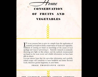 Home Conservation of Fruits and Vegetables - Vintage Illustrated Recipe Booklet c. 1930s