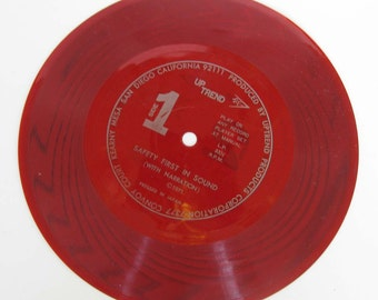 Road Safety in Sound - A Fun-To-Learn Record and Scripts - Red Vinyl - 33 RPM - UpTrend Products Corporation c. 1971
