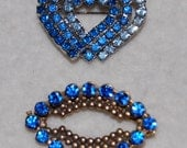 Blue and blue rhinestone brooches