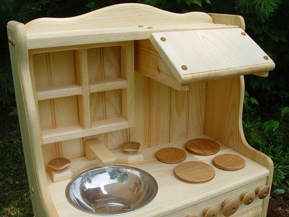 No Assembly Required ON sale today only 199 was 245 Child's Wooden play kitchen, wooden toy kitchen all natural, REAL wood