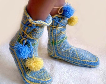 Light Blue and Yellow Woolen Pom-pom Slippers