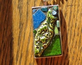 Mosaic Pendant of a Fun and Funky Green Fish Surrounded by Milliflori Glass and Porcelain