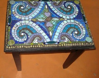 Mosaic Waves of the Lake Vintage Funky Table with Taconite pellet perimeter