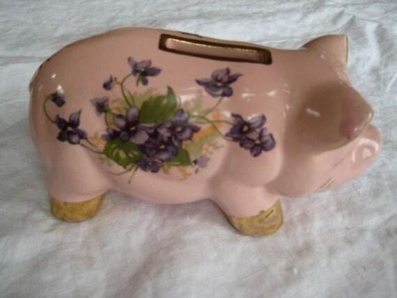 Vintage Ceramic Pink Piggy Bank