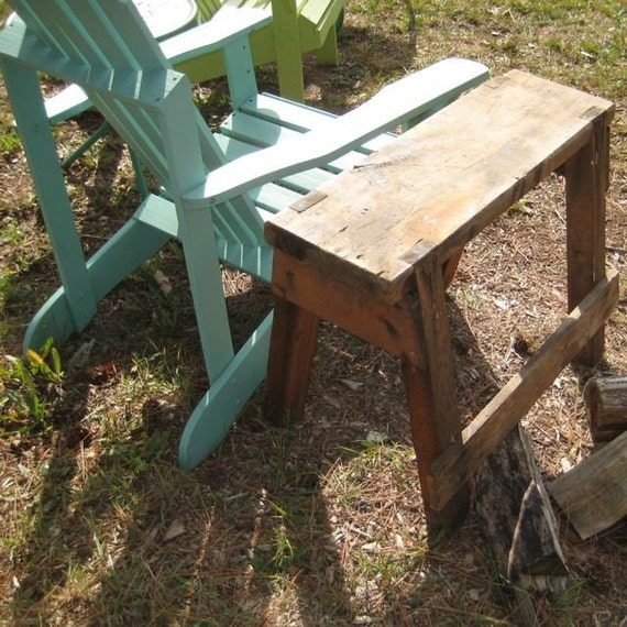 VINTAGE Hand Made Really Swell Table Bench Made by Great Uncle Eino Sturdy Workbench End Table