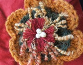 Hand Crocheted flower pin - perfect for fastening a shawl, scarf, cardie or adorning a coat