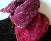 Handwoven, hand-dyed wool and silk winter collar, neckwarmer, lined in viscose velvet, finished with large  buttons