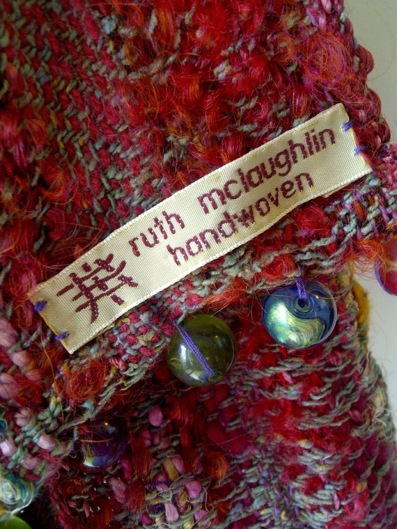RESERVED for NORIKO -  lambswool and viscose beaded scarf - honeysuckle, raspberry, cranberry  lollipop bobbles