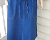 Vintage Navy Blue Wrap Skirt