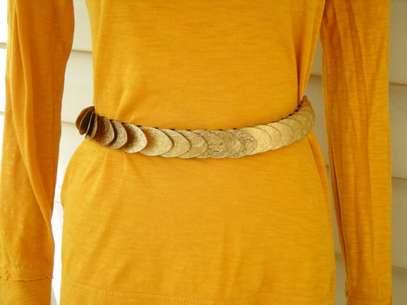 Vintage Belt with Gold Metal Flaps