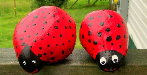 Adorable LadyBug Duo Handpainted  Gourds